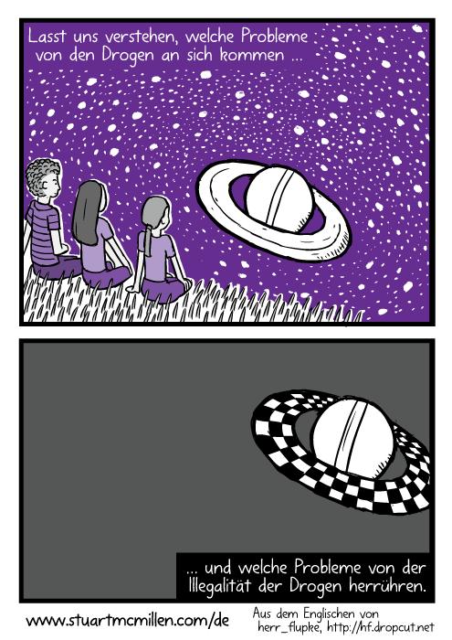 Die Freunde schauen auf den Saturn. Die Ringe des Saturns sind violett. Lasst uns verstehen, welche Probleme von den Drogen an sich kommen … und welche Probleme von der Illegalität der Drogen herrühren.