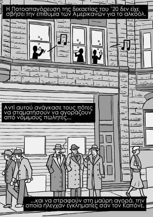 Δεκαετία του '30 δρόμος του Σικάγο σκίτσο, γκάνγκστερ σε καρτούν κόμικ, μαφιόζοι που καπνίζουν κόμικς. H Ποτοαπαγόρευση της δεκαετίας του '20 δεν είχε σβήσει την επιθυμία των Αμερικανών για το αλκοόλ. Αντί αυτού ανάγκασε τους πότες να σταματήσουν να αγοράζουν από νόμιμους πωλητές...και να στραφούν στη μαύρη αγορά, την οποία ήλεγχαν εγκληματίες σαν τον Καπόνε.