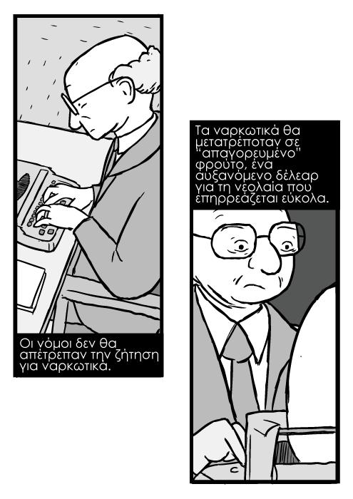 """Σκίτσο του Μίλτον Φρίντμαν, καρτούν με φαλακρό άνδρα με γυαλιά σε γραφομηχανή. Οι νόμοι δεν θα απέτρεπαν την ζήτηση για ναρκωτικά. Τα ναρκωτικά θα μετατρέποταν σε """"απαγορευμένο"""" φρούτο, ένα αυξανόμενο δέλεαρ για τη νεολαία που επηρρεάζεται εύκολα."""