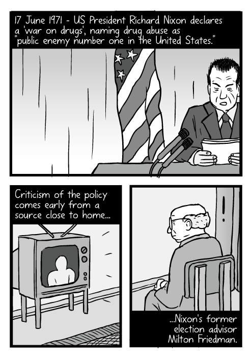 "Cartoon Richard Nixon speech. Man watching television drawing. 17 June 1971 – US President Richard Nixon declares a 'war on drugs', naming drug abuse as ""public enemy number one in the United States."" Criticism of the policy comes early from a source close to home...Nixon's former election advisor Milton Friedman."