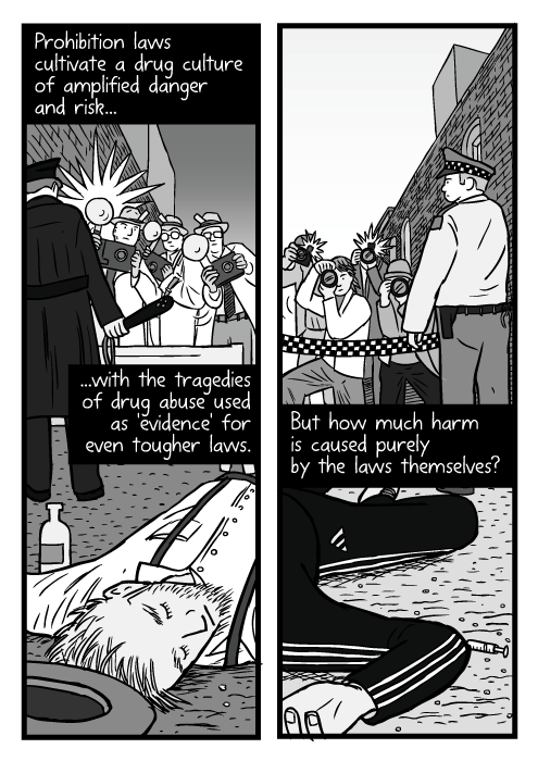 Dead drunk cartoon. Unconscious man drawing. Photographers behind police line. Flash bulbs. Prohibition laws cultivate a drug culture of amplified danger and risk...with the tragedies of drug abuse used as 'evidence' for even tougher laws. But how much harm is caused purely by the laws themselves?
