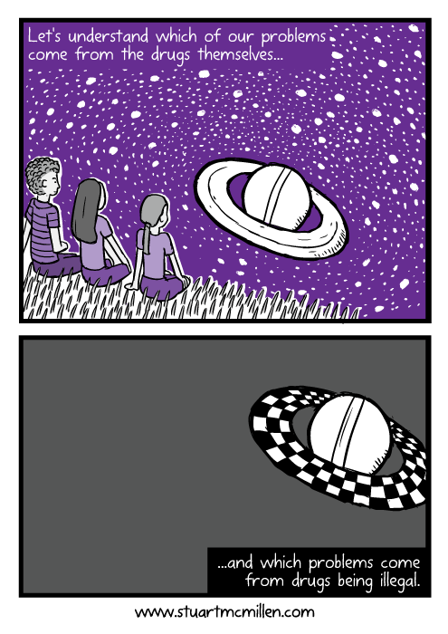 Cartoon friends looking at Saturn. Rings of Saturn comic drawing. Let's understand which of our problems come from the drugs themselves...and which of our problems come from drugs being illegal.