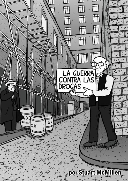 Cubierta del cómic 'La guerra contra las drogas'. Un hombre en un callejón sostiene un cartel en el que dibuja. Bob Dylan y sus tarjetas de lectura en Subterranean Homesick Blues. Caricatura de Milton Friedman. Al Capone.