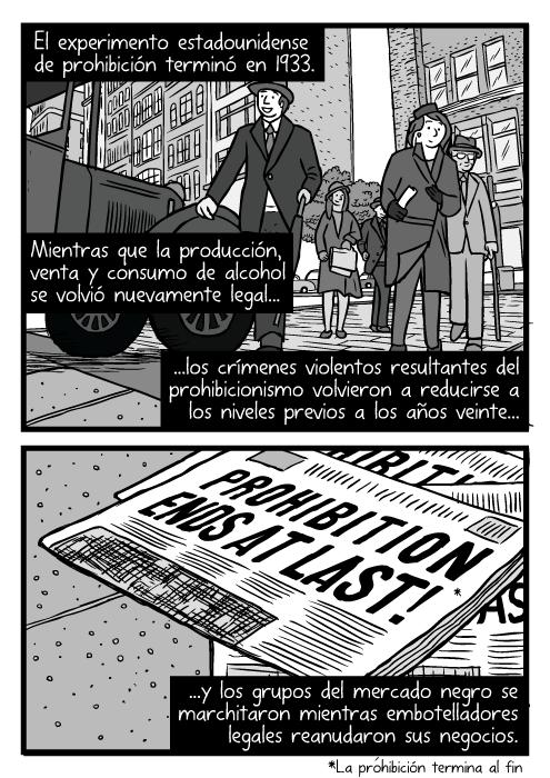 Vista amplia de pedestres. Dibujo de calle de Chicago en los años treinta. Caricatura de 'Repeal Day', el día que se derogó la ley. El experimento estadounidense de prohibición terminó en 1933. Mientras que la producción, venta y consumo de alcohol se volvió nuevamente legal...los crímenes violentos resultantes del prohibicionismo volvieron a reducirse a los niveles previos a los años veinte...y los grupos del mercado negro se marchitaron mientras embotelladores legales reanudaron sus negocios.
