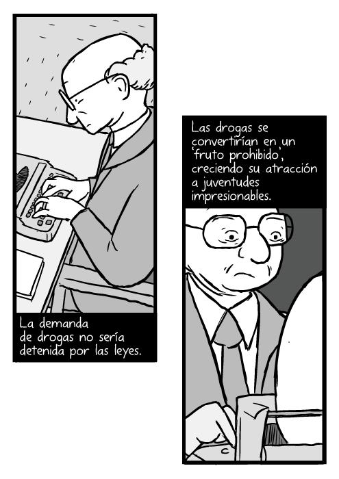 Dibujo de Milton Friedman. Caricatura de hombre calvo con lentes utilizando una máquina de escribir. La demanda de drogas no sería detenida por las leyes. Las drogas se convertirían en un 'fruto prohibido', creciendo su atracción a juventudes impresionables.