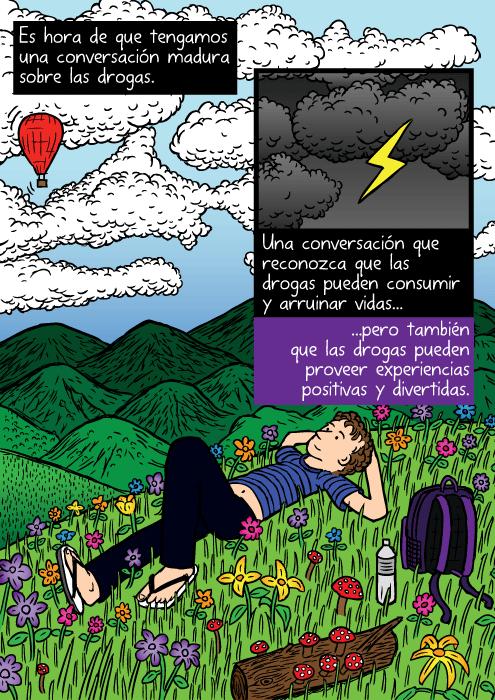 Dibujo de campo de flores muy colorido. Caricatura de un hombre recostado en el pasto, viendo las nubes. Es hora de que tengamos una conversación madura sobre las drogas. Una conversación que reconozca que las drogas pueden consumir y arruinar vidas...pero también que las drogas pueden proveer experiencias positivas y divertidas.