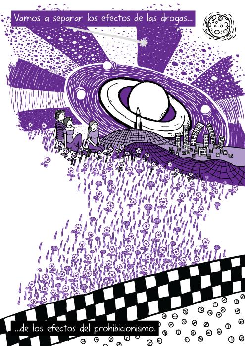 Dibujo de viaje en drogas morado. Caricatura de amigos sentados en el pasto. Vamos a separar los efectos de las drogas...de los efectos del prohibicionismo.