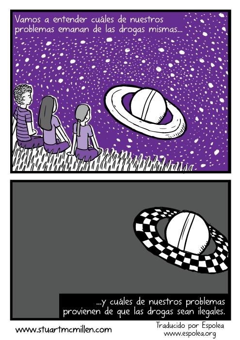 Caricatura de amigos viendo a Saturno. Dibujo de los anillos de Saturno en morado. Vamos a entender cuáles de nuestros problemas emanan de las drogas mismas...y cuáles de nuestros problemas provienen de que las drogas sean ilegales.