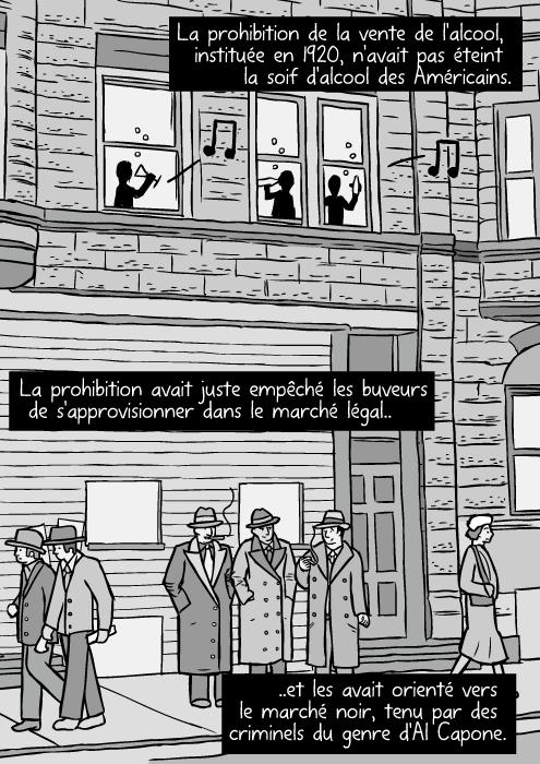 Une rue de Chicago en 1930. des dessins de gangsters. Des voyous en train de fumer. La prohibition de la vente de l'alcool, instituée en 1920, n'avait pas éteint la soif d'alcool des Américains. La prohibition avait juste empêché les buveurs de s'approvisionner dans le marché légal.. ..et les avait orienté vers le marché noir, tenu par des criminels du genre d'Al Capone.