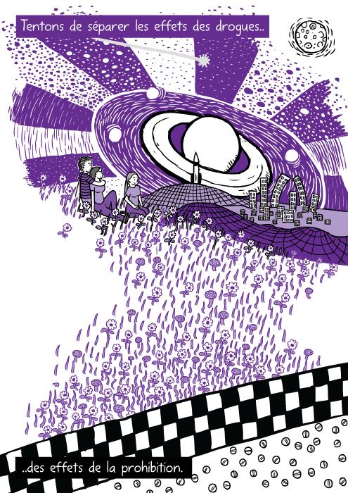 Un dessin de vision psychédélique de couleur pourpre. Des amis regardent, assis sur l'herbe. Tentons de séparer les effets des drogues.. ..des effets de la prohibition.