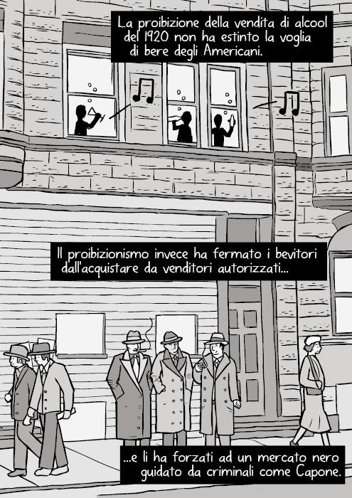Disegno di una via di Chicago del 1930. Vignetta di gangster. Malavitosi che fumano. La proibizione della vendita di alcool del 1920 non ha estinto la voglia di bere degli Americani. Il proibizionismo invece ha fermato i bevitori dall'acquistare da venditori autorizzati e li ha forzati ad un mercato nero guidato da criminali come Capone.