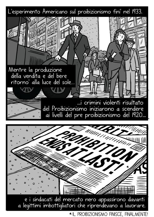 Vista dal basso di pedoni. Disegno di una strada di Chicago del 1930. Vignetta del Giorno dell' Abrogazione. L'esperimento Americano sul proibizionismo fini' nel 1933. Mentre la produzione della vendita e del bere ritorno' alla luce del sole i crimini violenti risultato del Proibizionismo iniziarono a scendere ai livelli del pre proibizionismo del 1920 e i sindacati del mercato nero appassirono davanti a legittimi imbottigliatori che riprendevano a lavorare. Il Proibizionismo finisce, finalmente!