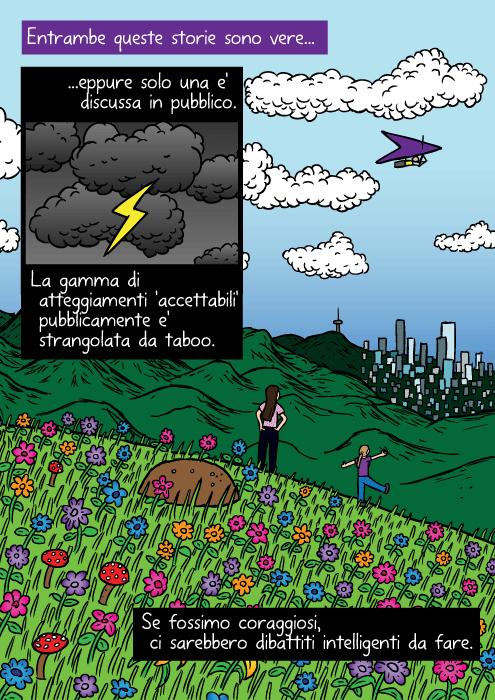 Disegno di cima di collina colorata. Vignetta di ragazza che guarda città in lontananza. Entrambe queste storie sono vere eppure solo una e' discussa in pubblico. La gamma di atteggiamenti 'accettabili' pubblicamente e' strangolata da taboo. Se fossimo coraggiosi, ci sono dibattiti intelligenti da fare.