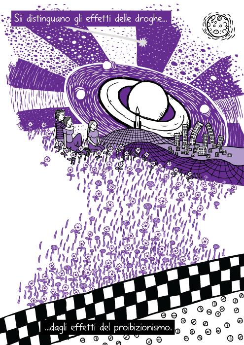 Disegno di viaggio viola da droga. Vignetta di amici seduti sull'erba. Sii distinguano gli effetti delle droghe dagli effetti del proibizionismo.