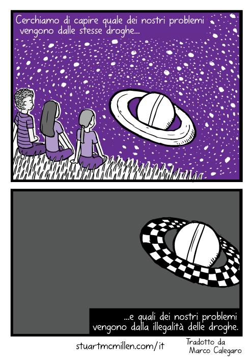 Disegno di amici che guardano Saturno. Vignetta degli anelli di saturno in viola. Cerchiamo di capire quale dei nostri problemi vengono dalle stesse droghe e quali dei nostri problemi vengono dalla illegalità delle droghe.