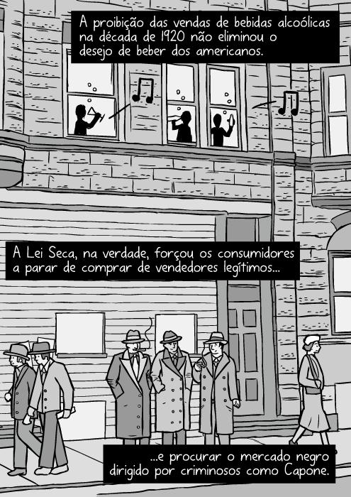 Desenho da rua de Chicago em 1930's. Cartum de gangsters. Criminosos fumando. A proibição das vendas de bebidas alcoólicas na década de 1920 não eliminou o desejo de beber dos americanos. A Lei Seca, na verdade, forçou os consumidores a parar de comprar de vendedores legítimos...e procurar o mercado negro dirigido por criminosos como Capone.
