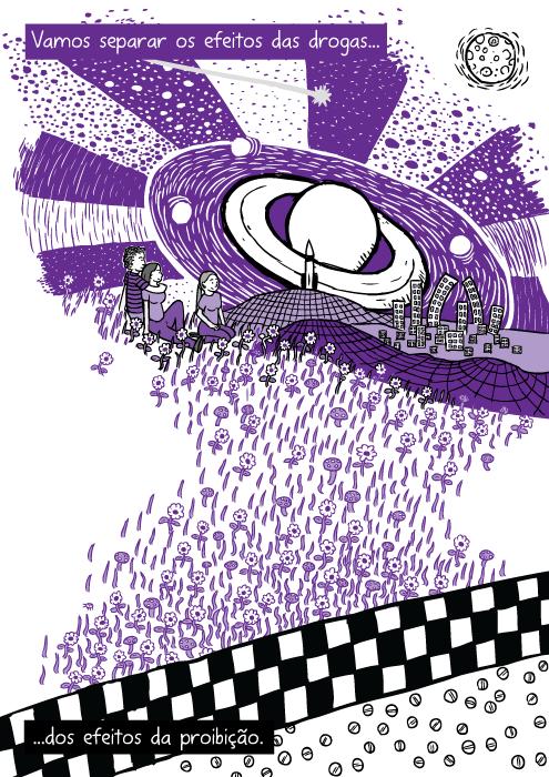 Desenho roxo viagem drogas. Cartum amigos sentados grama. Vamos separar os efeitos das drogas...dos efeitos da proibição.