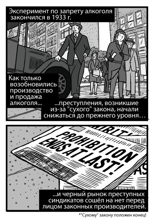 Изображение пешеходов с низкого ракурса. Рисунок чикагской улицы 1930-х гг. Заголовок газеты об отмене