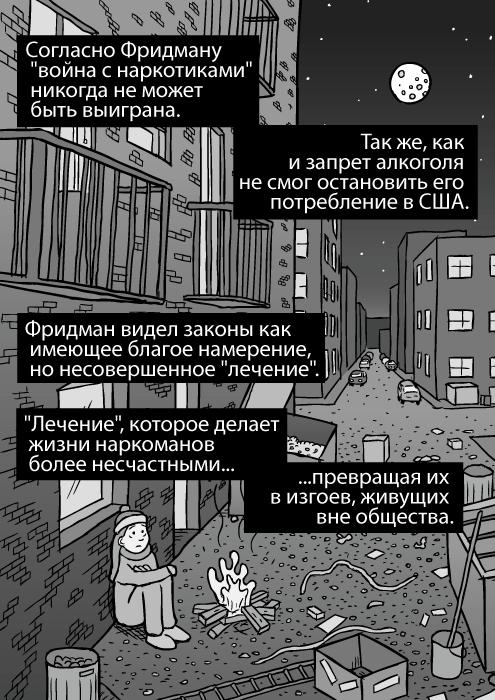 Рисунок городского переулка. Ночь, мусорные контейнеры, мусор. Изображение бездомной девушки. Городской переулок. Согласно Фридману