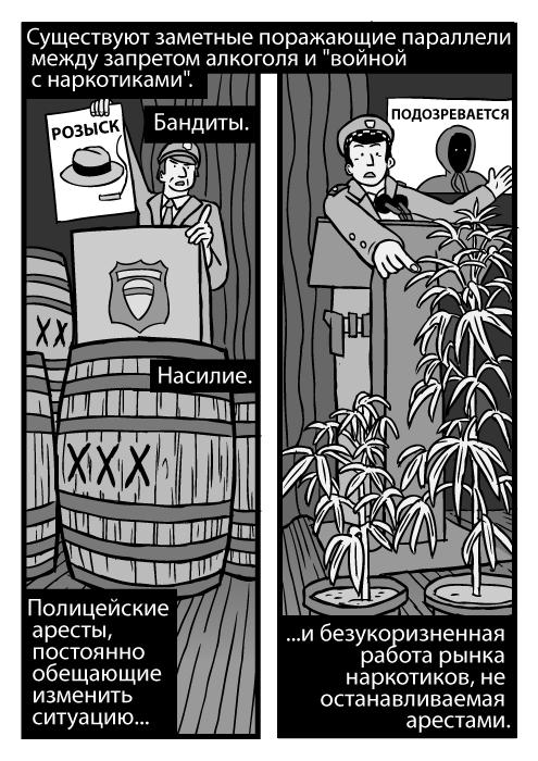 Бочки с нелегальным алкоголем. Изображение растений конопли. Пресс-конференция, низкий ракурс. РОЗЫСК, ПОДОЗРЕВАЕТСЯ. Существуют поражающие параллели между запретом алкоголя и