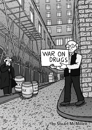 War on Drugs comic cover. Man in alley holding sign drawing. Bob Dylan alleyway Subterranean Homesick Blues cue cards. Cartoon Milton Friedman. Al Capone.