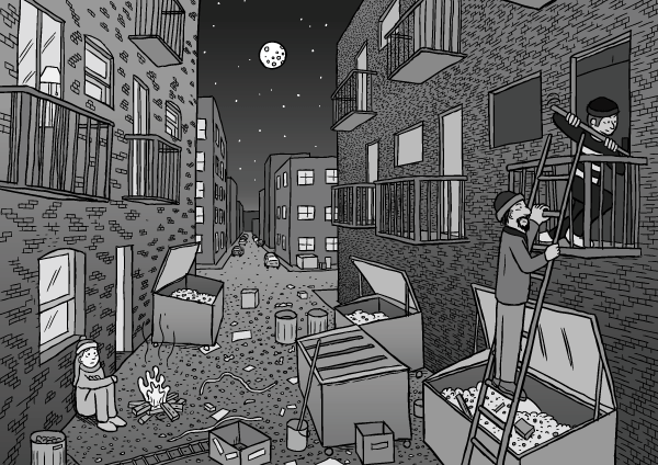 Comic artwork dark alleyway night drawing. Cartoon perspective drawing of city alley dumpsters balconies.