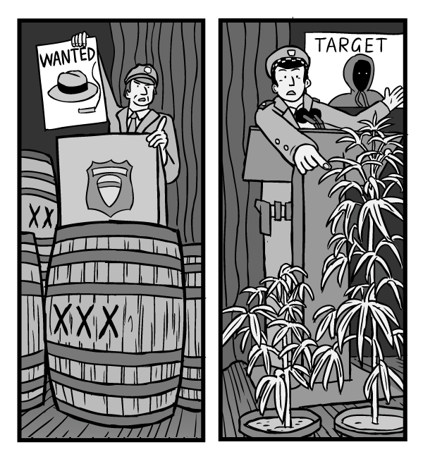 War on Drugs prohibition comic drawing. Two police commissioners at news conference - low angle. One standing in front of a barrel of liquor, the other standing in front of cannabis plants.