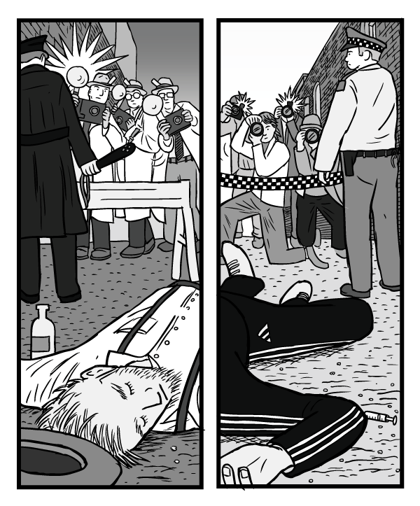 War on Drugs prohibition comic drawing. Two dead bodies - low angle. One from alcoholism, other from drug overdose.