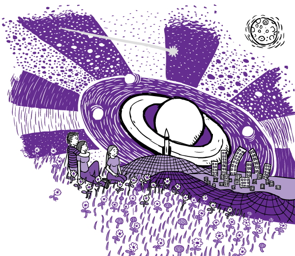 Cartoon purple drug trip. Drawing of three friends on drugs sitting on purple grass looking at warped city skyline. Stars, planet Saturn.