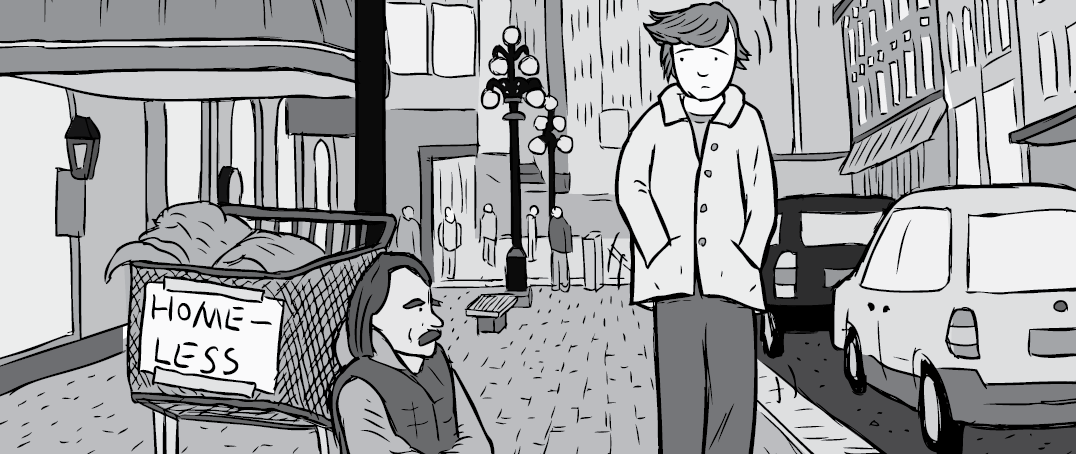 Cartoon streetscape with pedestrian looking at homeless man begging for money
