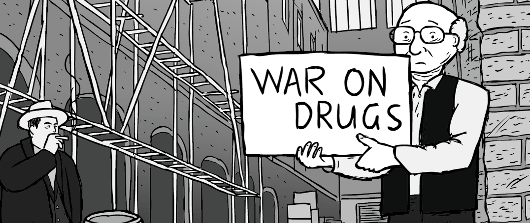 My drug period thumbnail - Milton Friedman standing in an alleyway cartoon.