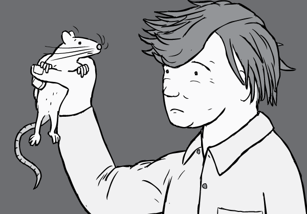 Cartoon illustration of Professor Bruce Alexander holding a rat. Prof Alexander was a researcher in the Rat Park addiction experiments.