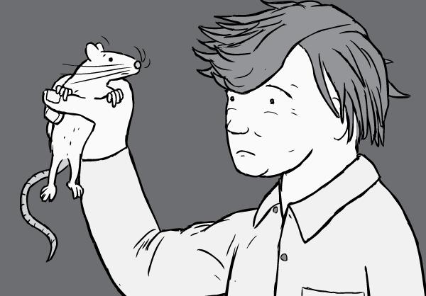 Cartoon illustration of Professor Bruce Alexander holding a rat. Prof Alexander was a researcher in the Rat Park addiction experiments.
