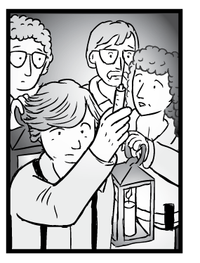 High angle cartoon drawing of Rat Park researchers holding up glowing morphine syringe. Dramatic pose like Dracula or Frankenstein movies.