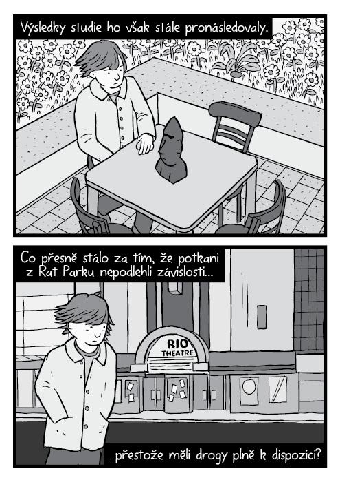 Muž sedící u stolu nadhled kresba. Černobílý komiks parodie Led Zeppelin album Presence cover. Výsledky studie ho však stále pronásledovaly. Provázely, nedaly spát Co přesně stálo za tím, že potkani zRat Parku nepodlehli závislosti, přestože měli drogy plně kdispozici?