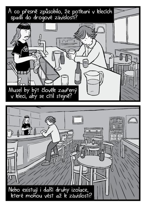 Komiksové dílo In Through the Out Door cover umění parodie. Komiks John Bonham černobílá kresba. A co přesně způsobilo, že potkani vklecích spadli do drogové závislosti? Musel by být člověk zavřený v kleci, aby se cítil stejně? Nebo existují i další druhy izolace, které mohou vést až kzávislosti?