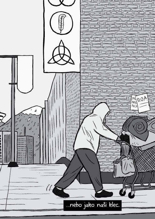 Komiks bezdomovec tlačící nákupní vozík černobílá kresba. …nebo jako naši klec.