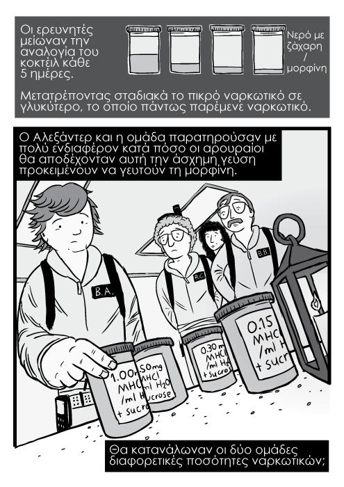 Καρτούν σκίτσο Ghostbusters επιστήμονες να κρατούν βαζάκια. Νερό με ζάχαρη / μορφίνη. Οι ερευνητές μείωναν την αναλογία του κοκτέιλ κάθε 5 ημέρες. Μετατρέποντας σταδιακά το πικρό ναρκωτικό σε γλυκύτερο, το οποίο πάντως παρέμενε ναρκωτικό. Ο Αλεξάντερ και η ομάδα παρατηρούσαν με πολύ ενδιαφέρον κατά πόσο οι αρουραίοι θα αποδέχονταν αυτή την άσχημη γεύση προκειμένουν να γευτούν τη μορφίνη. Θα κατανάλωναν οι δύο ομάδες διαφορετικές ποσότητες ναρκωτικών;