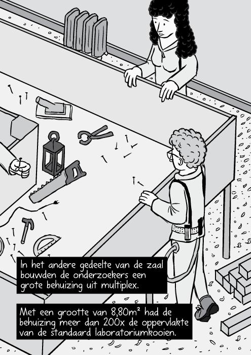 Strip isometrisch zicht schrijnwerker werkplaats. Houten doos tekening. In het andere gedeelte van de zaal bouwden de onderzoekers een grote behuizing uit multiplex. Met een grootte van 8,80m² had de behuizing meer dan 200x de oppervlakte van de standaard laboratoriumkooien.