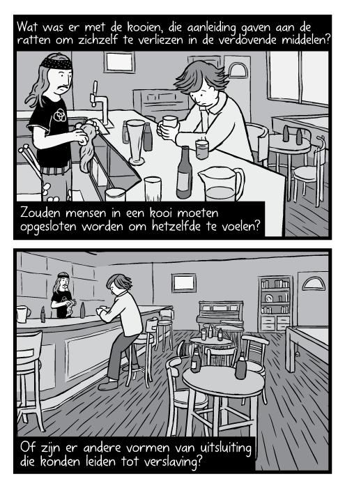 Strip kunst In Through the Out Door cover art parodie. Cartoon John Bonham barman zwart wit tekening. Wat was er met de kooien, die aanleiding gaven aan de ratten om zichzelf te verliezen in de verdovende middelen? Zouden mensen in een kooi moeten opgesloten worden om hetzelfde te voelen? Of zijn er andere vormen van uitsluiting die konden leiden tot verslaving?