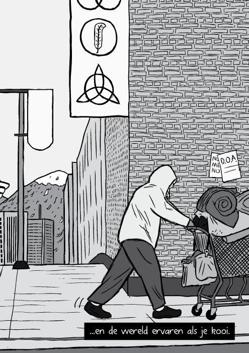 Cartoon dakloze man duwt winkelkar zwart wit tekening. ...en de wereld ervaren als je kooi.