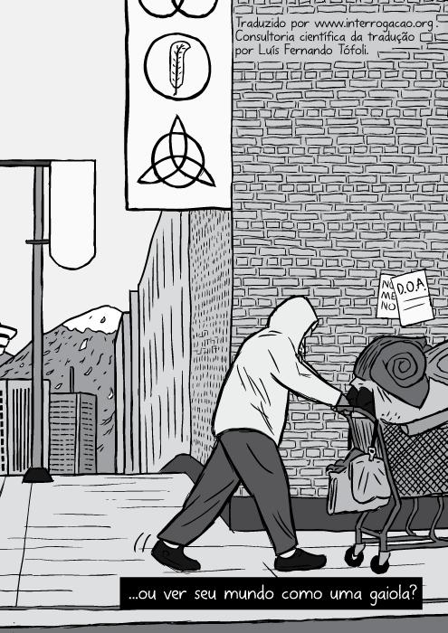 Desenho cartum preto e branco mendigo empurrando carrinho de compras. ...ou ver seu mundo como uma gaiola?