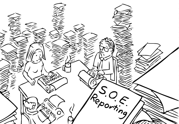 High angle drawing of workers at desk, typing on typewriters. Surrounded by stacks of paper.