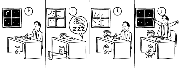 Cartoon sequence of man sleeping under desk in the office.