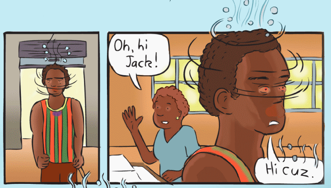 Cartoon intoxicated aboriginal man entering store. Red eyes, dizzy spinning head. Fumes above head.
