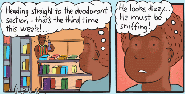 Aboriginal storekeeper looking at shopper in grocery store shelves. Cartoon thought bubbles.