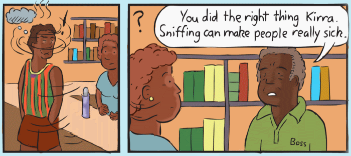 Cartoon aboriginal community store. Drawing of aboriginal elder boss and young female store worker.