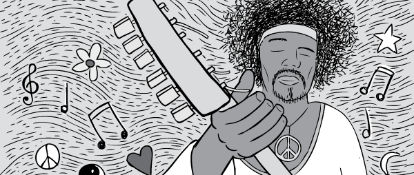 Cartoon low angle Jimi Hendrix playing guitar black and white.