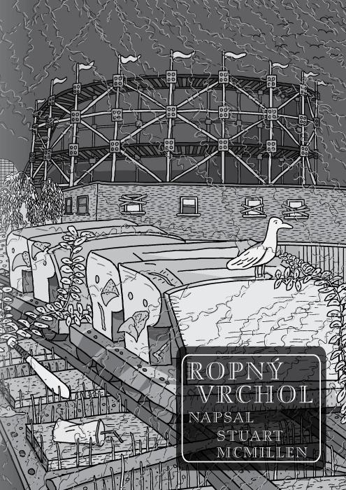 Komiks Stuarta McMillena s názvem Ropný vrchol . Titulní stránka. Horská dráha od Red House Painters. Černobílá kresba horské dráhy v opuštěném zábavním parku.