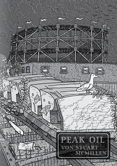 Peak Oil Comic von Stuart McMillen. Titelseite. Rollercoaster von den Red House Painters (intentionality of translation?). SchwarzweißZeichnung eines Achterbahnwagens in einem verlassenen Vergnügungspark.